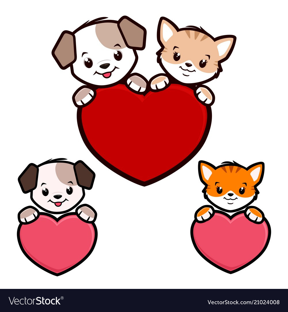 Cartoon Dog Cat Icon Royalty Free Vector Image