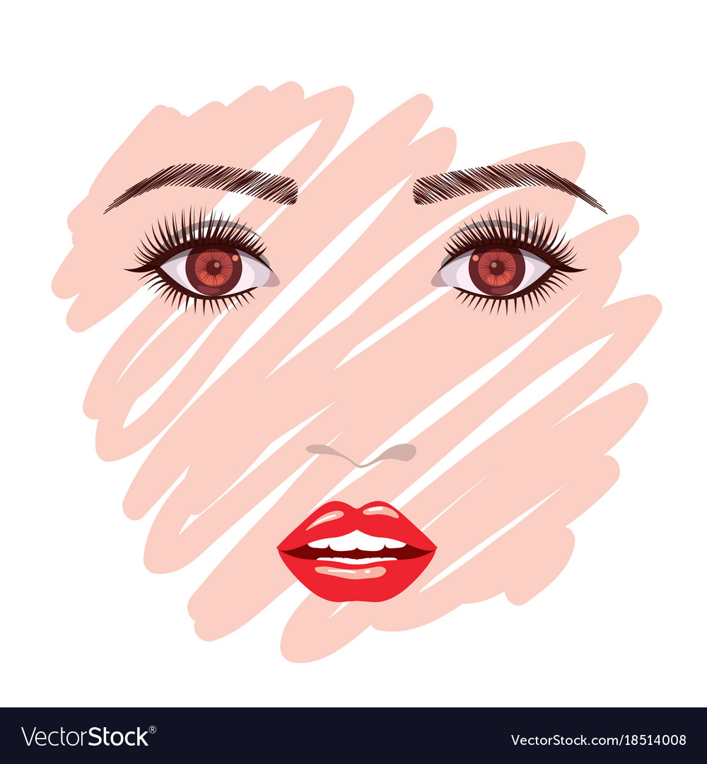 Colorful female face sketch in white background vector image
