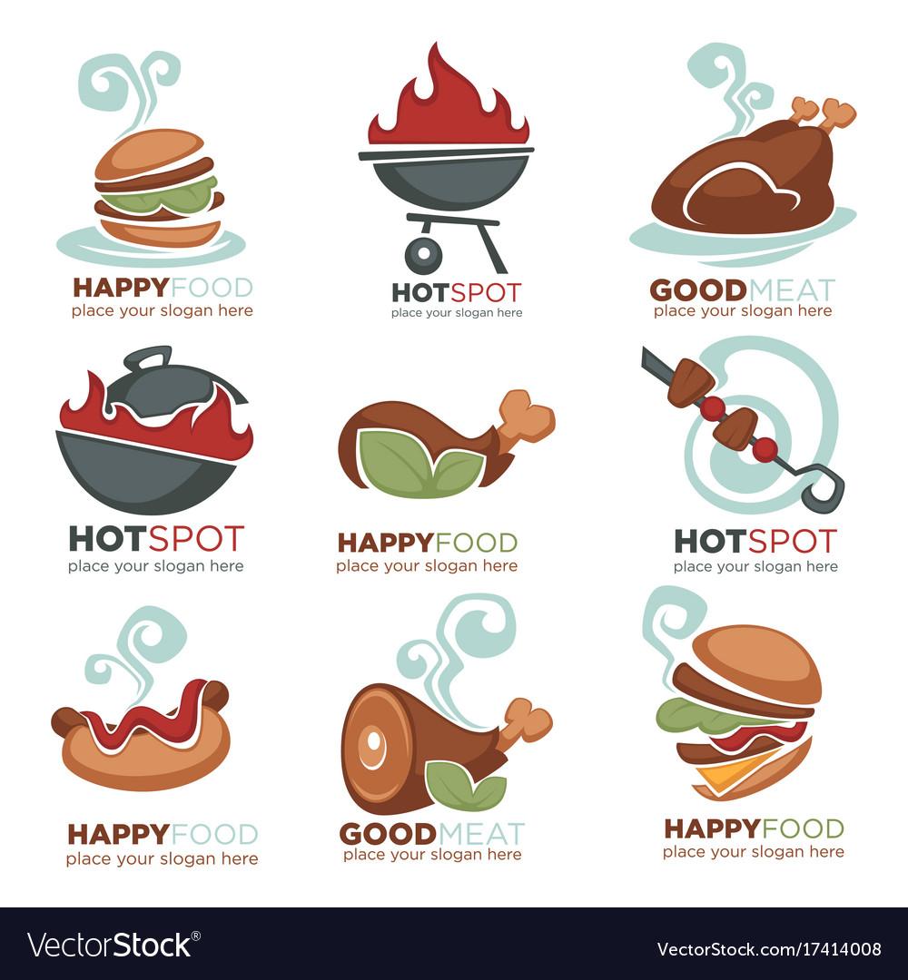 Fresh meat bbq beef chicken turkey menu logo vector image