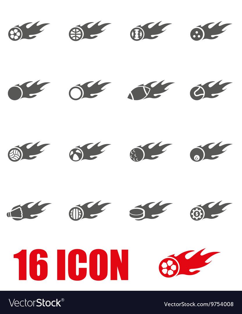 Grey file sport balls icon set