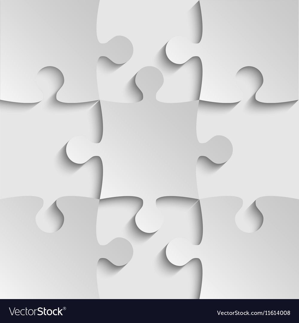 Grey Puzzles Piece JigSaw - 9 Pieces Royalty Free Vector