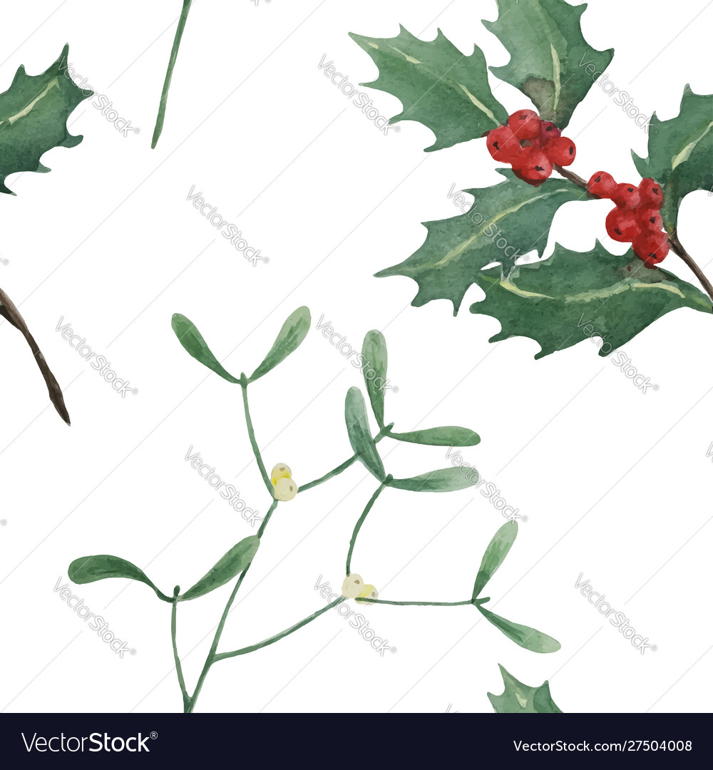 Holly and mistletoe watercolor seamless pattern