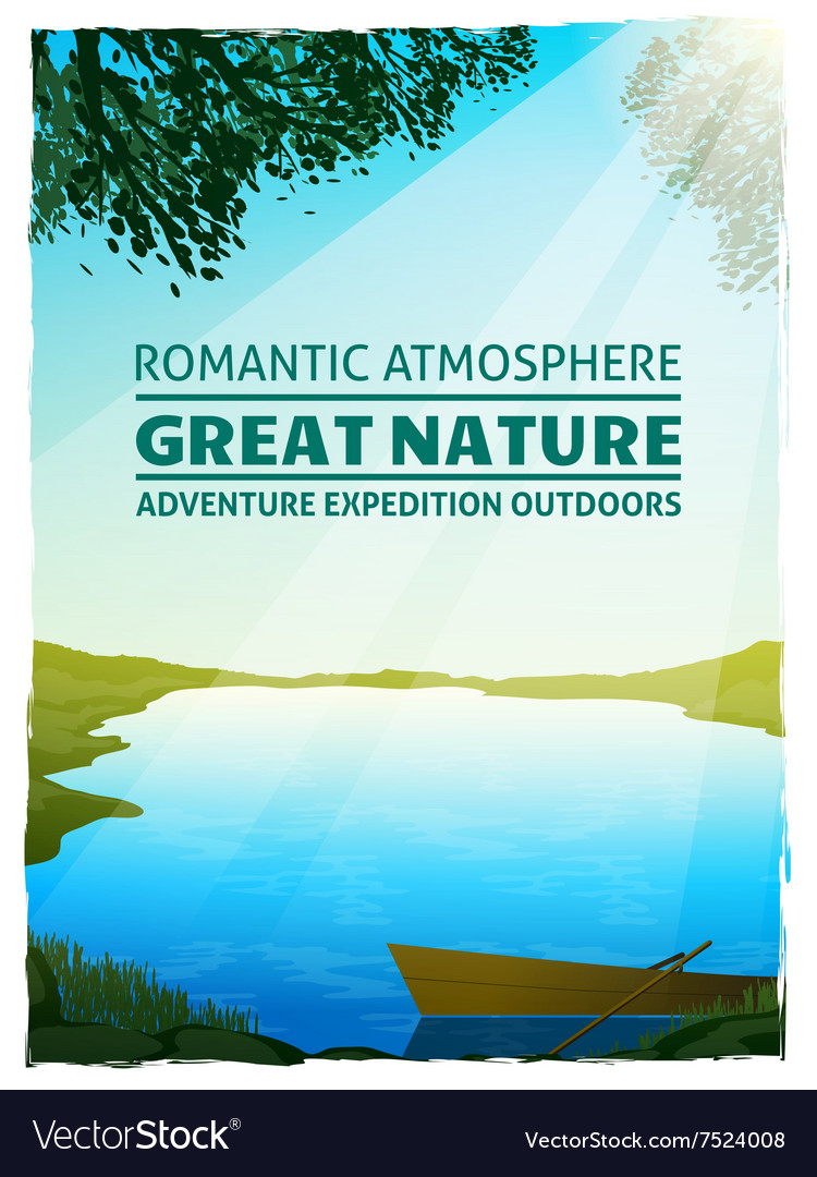 Lake Nature Landscape Background Poster vector image