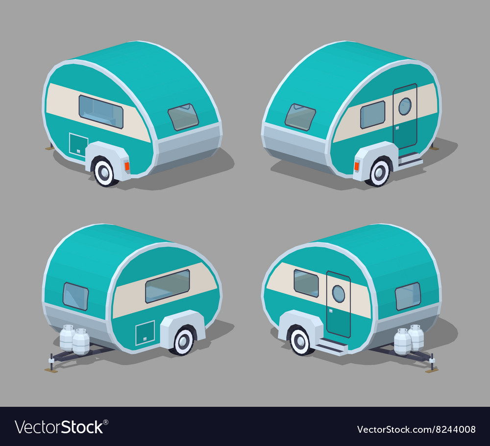 Low poly turquoise retro motor home vector image