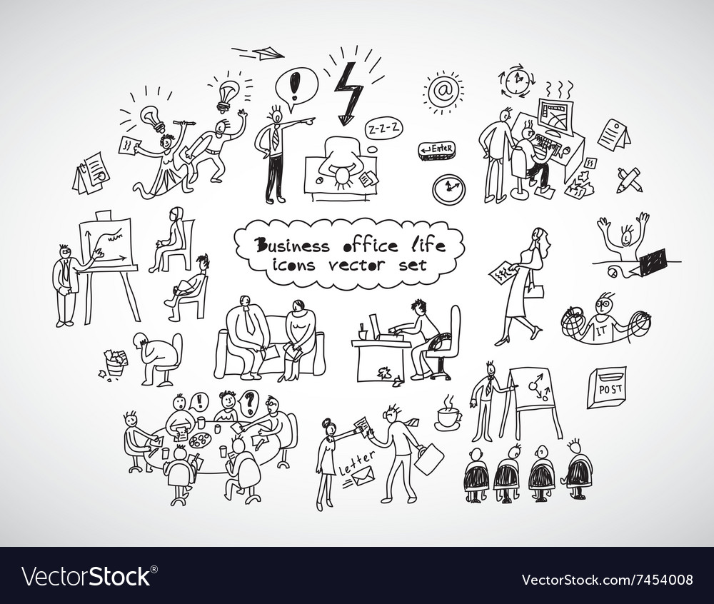 Office life black lines icons set business people