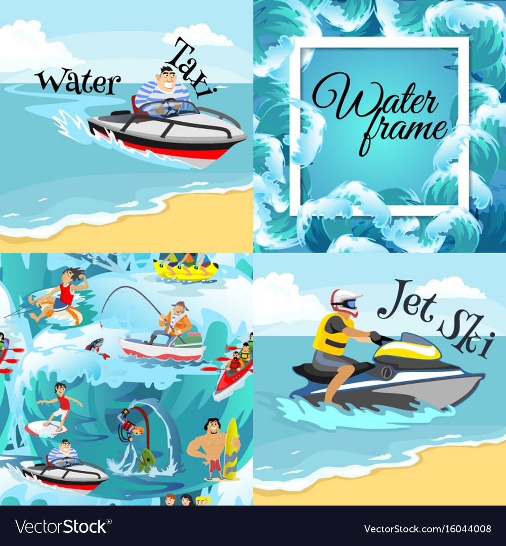 Set of water extreme sports backgrounds isolated