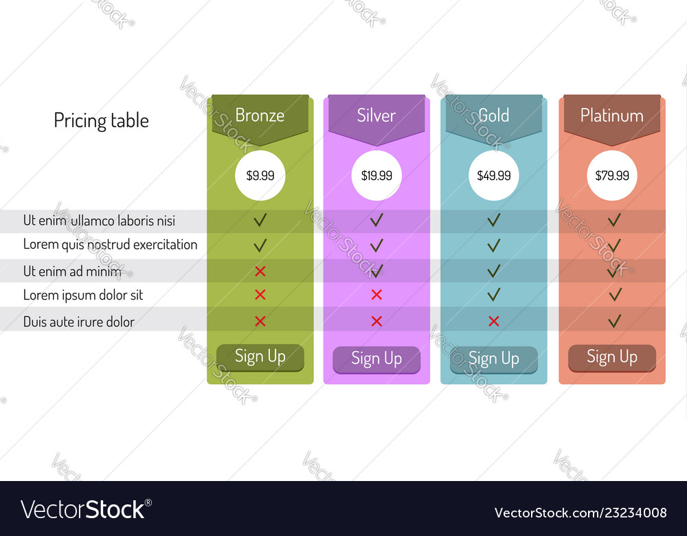 web pricing table template royalty free vector image