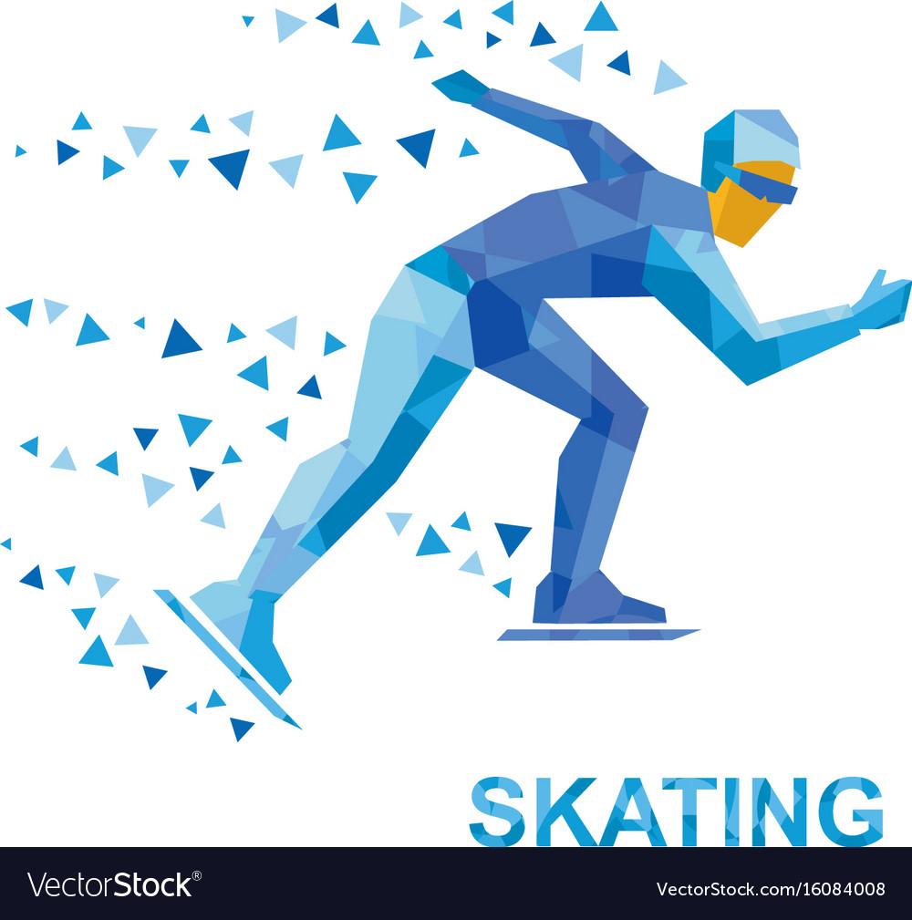 Winter sports - skating skater running on white