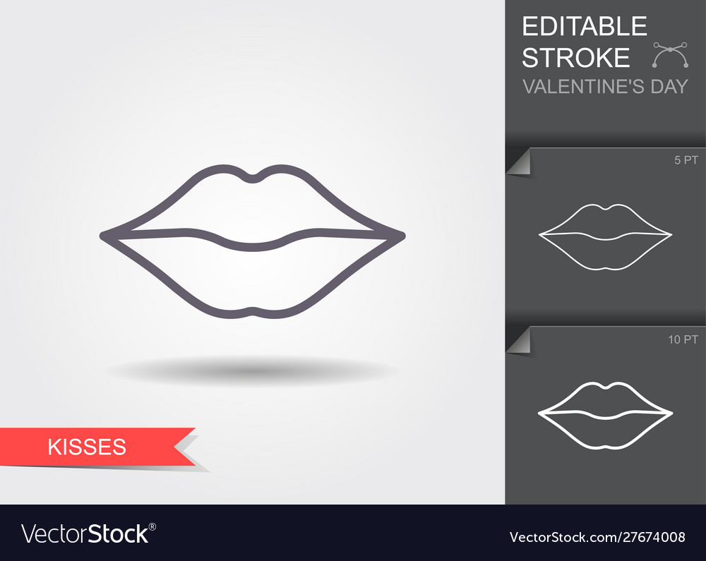 Woman lips line icon with editable stroke with