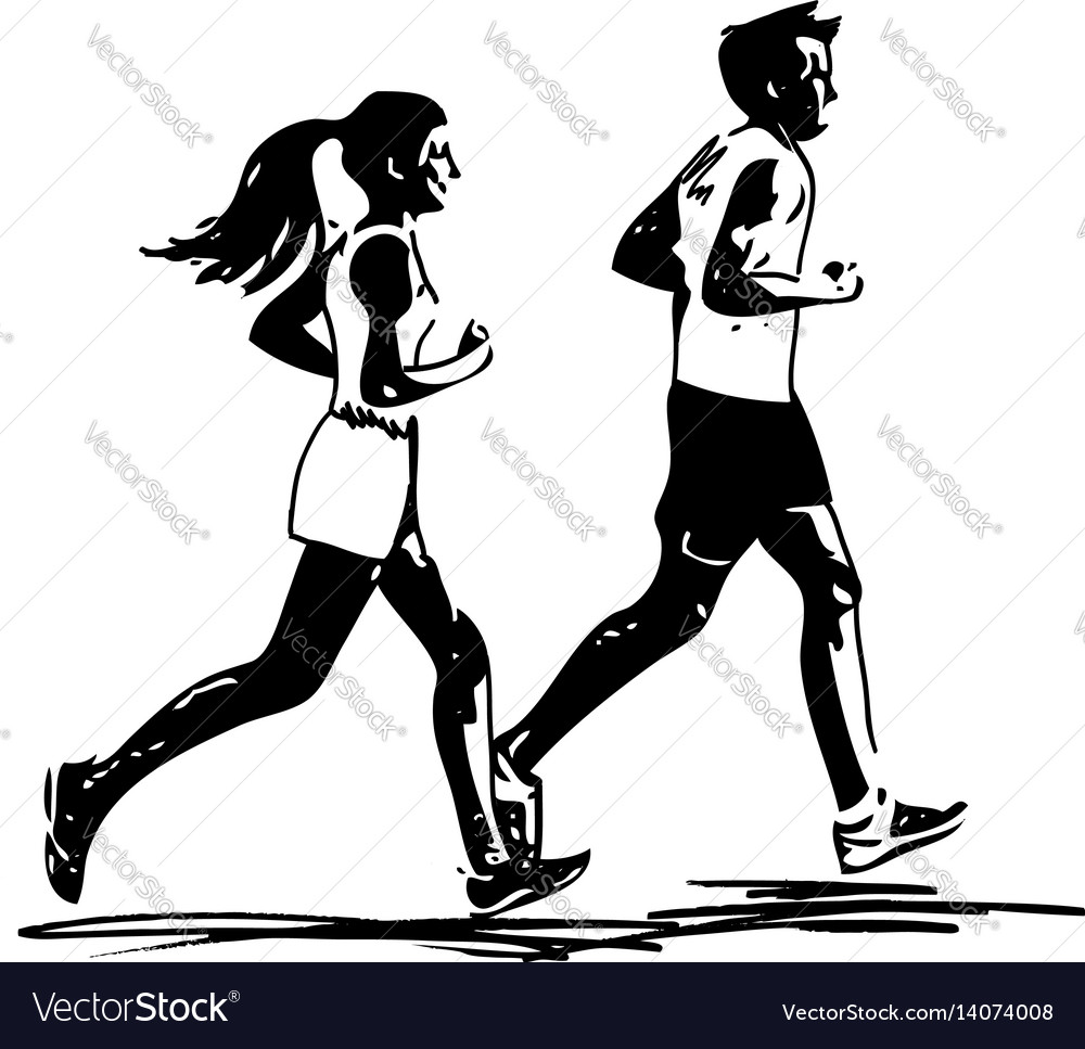 Young fitness couple of man and woman jogging in vector image