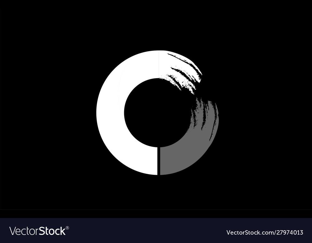 Black Background Black And White Letter O Grunge Vector Image