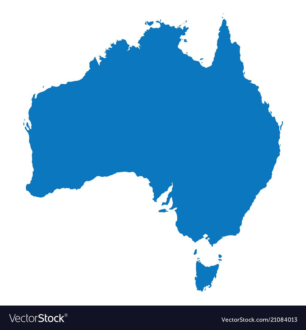 Australia Map Of The World.Blank Blue Similar Australia Map Isolated On White