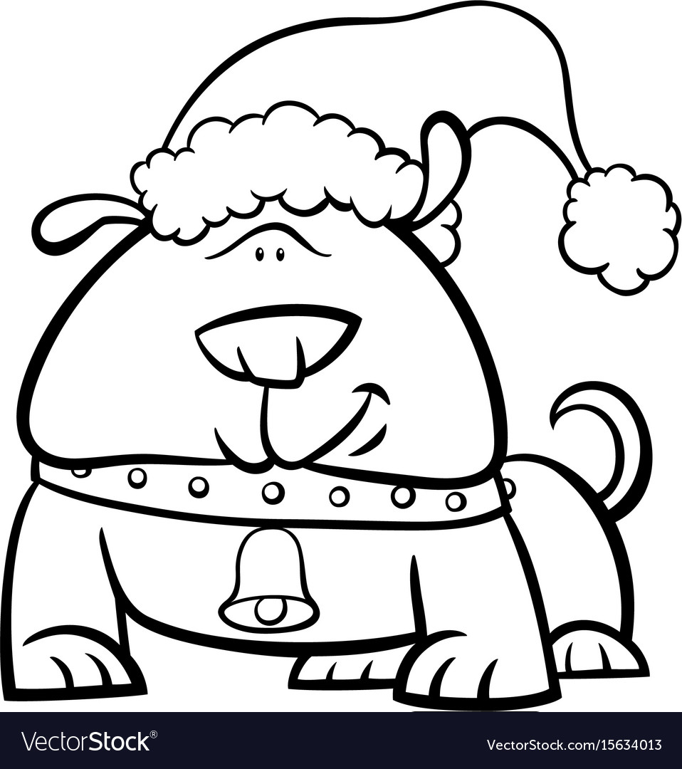 dog on christmas coloring book vector image