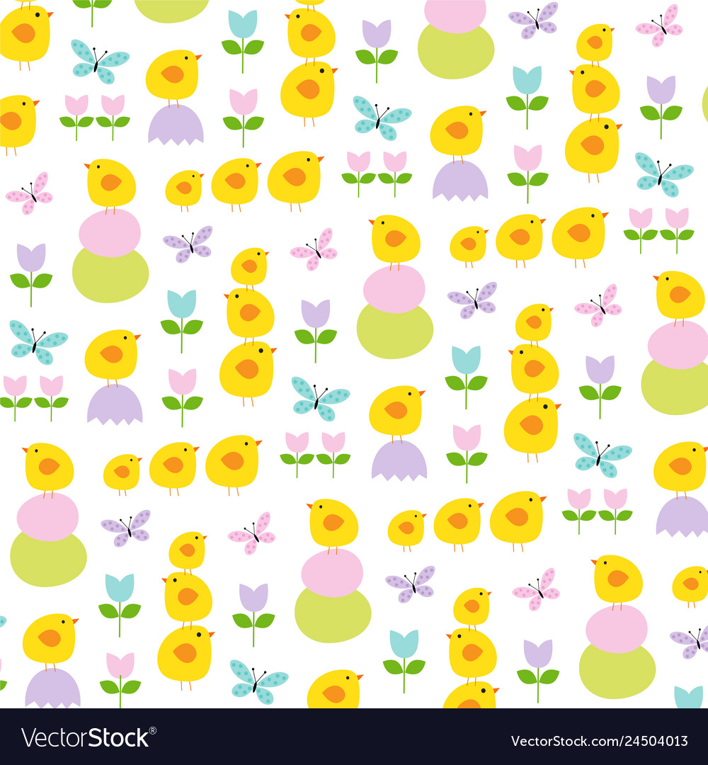 Easter chicks tulips and butterflies pattern