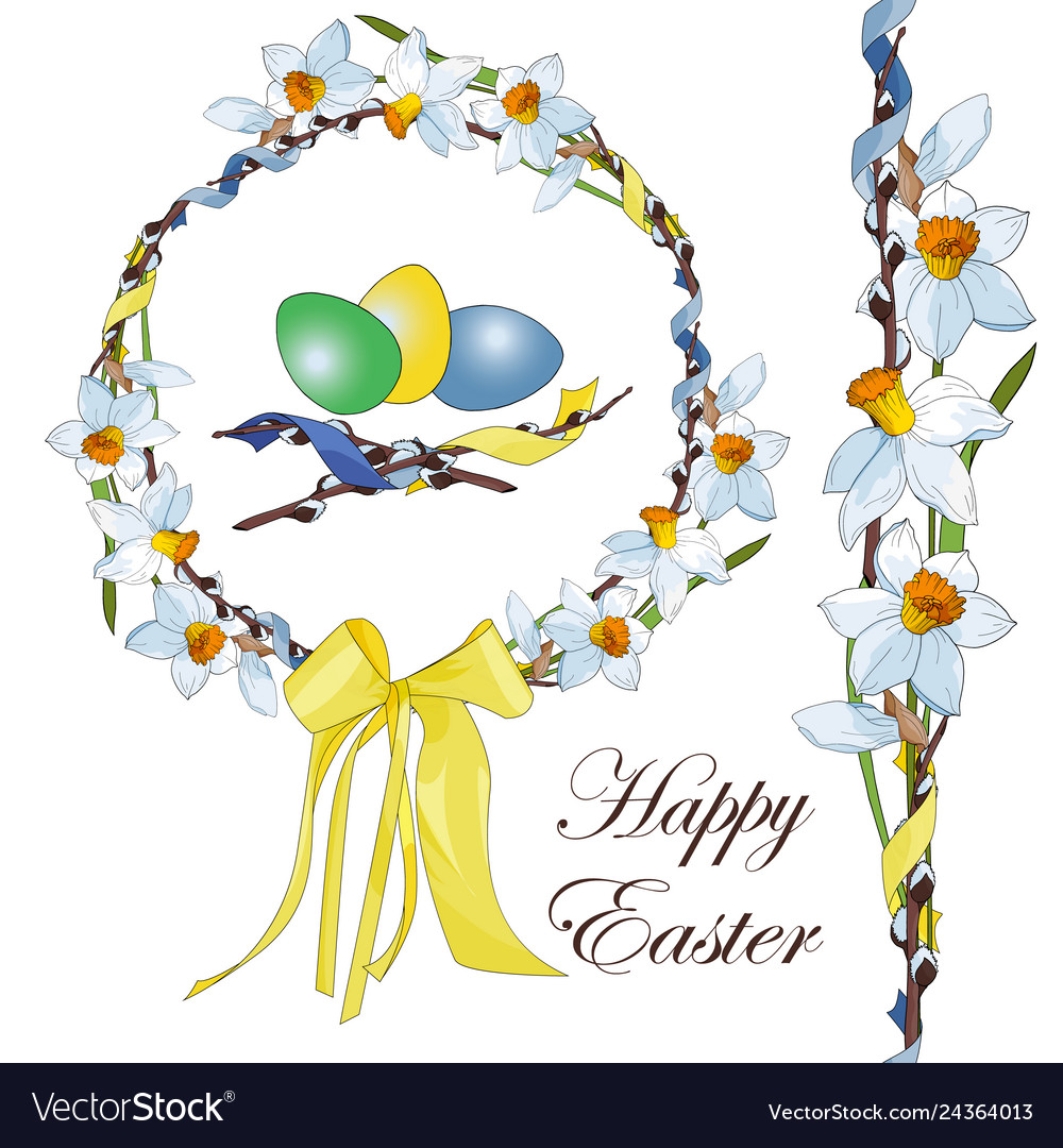 Easter wreath of white and yellow narcissus