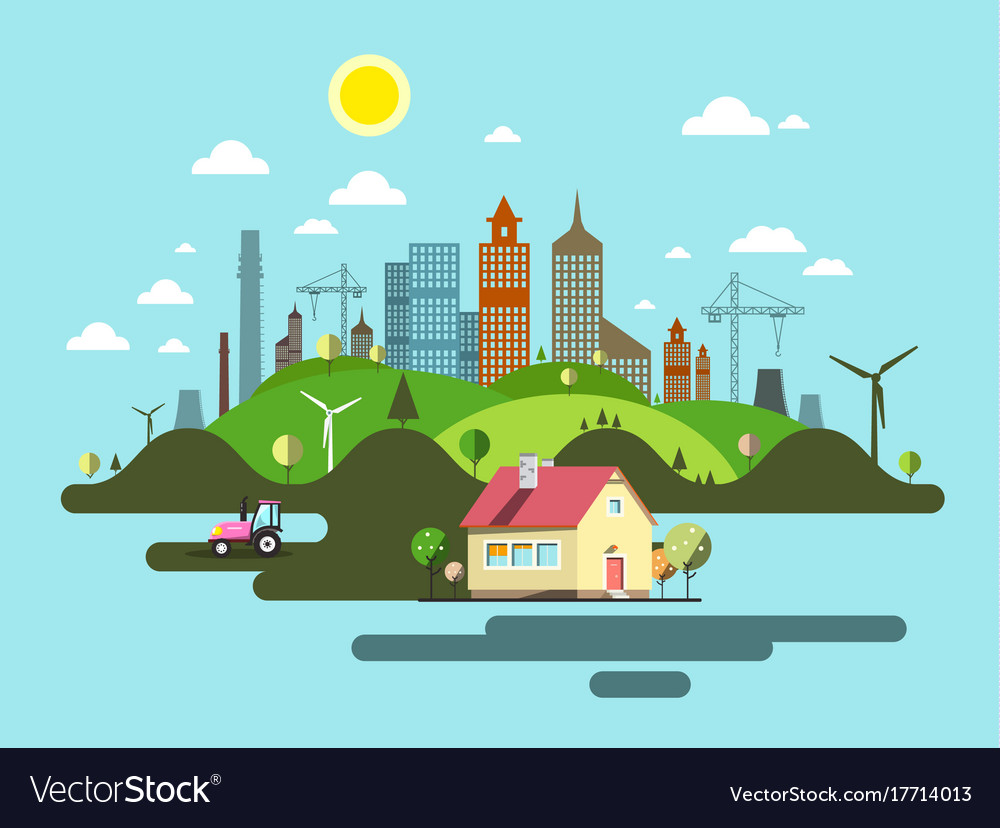 Flat design city abstract town