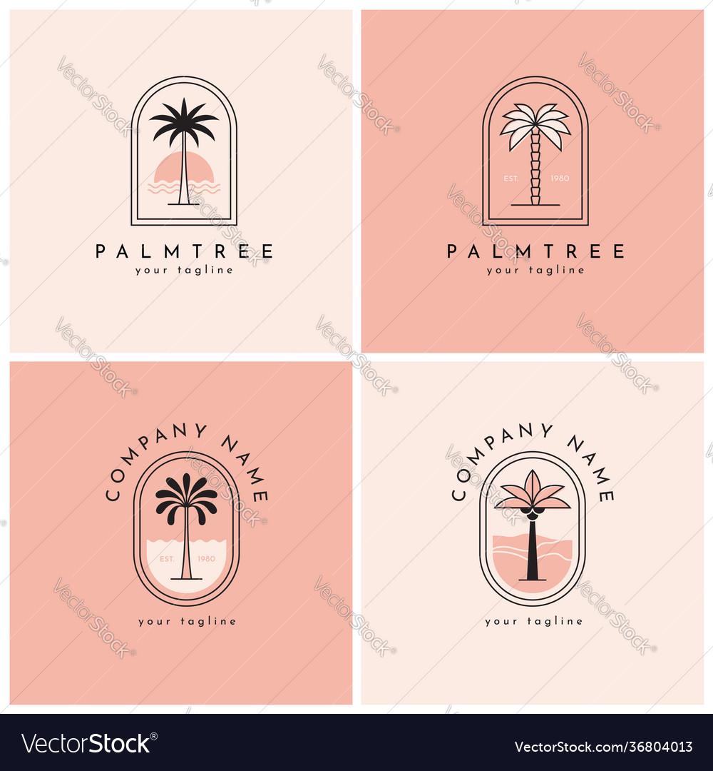 Four palm tree logo emblem set one