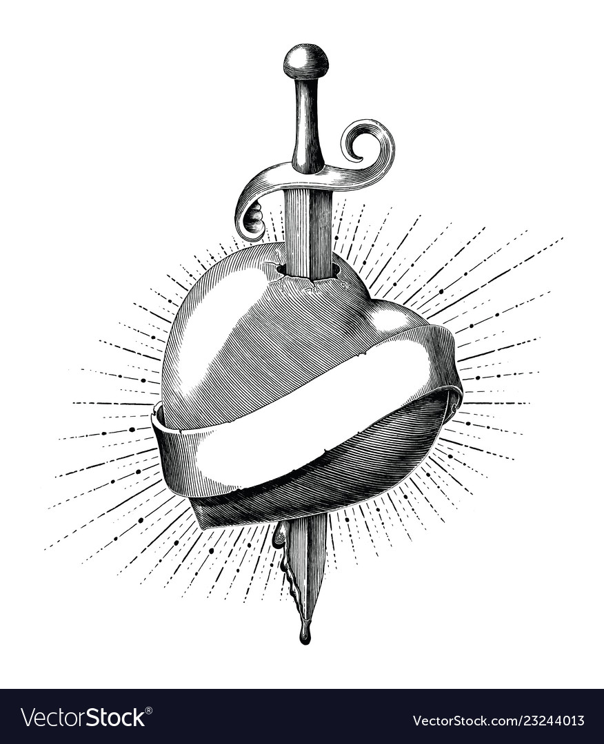 Heart with sword tattoo hand draw vintage