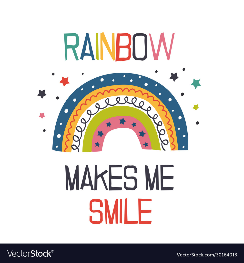 Poster with cheerful rainbow