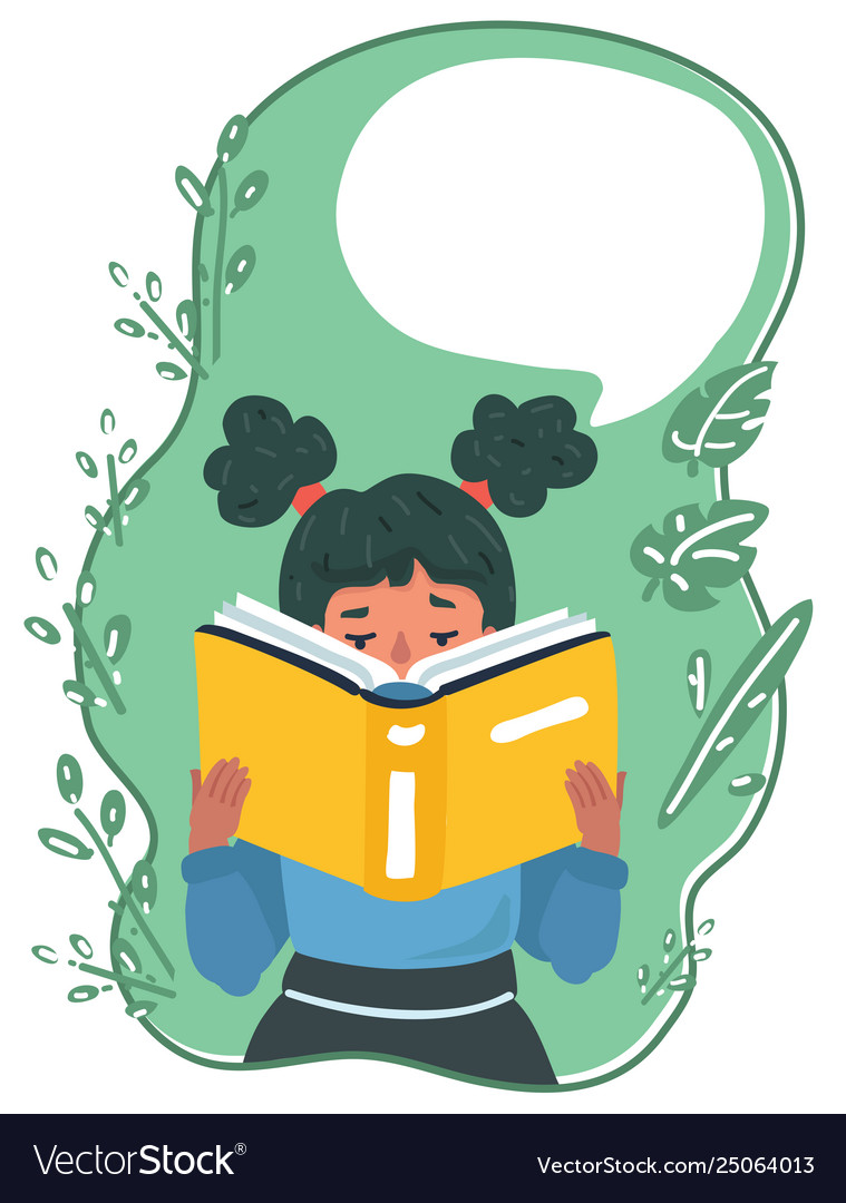 Reading girl with book and speech bubble