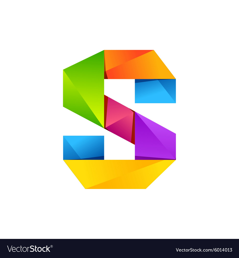 S letter one line colorful logo design template Vector Image