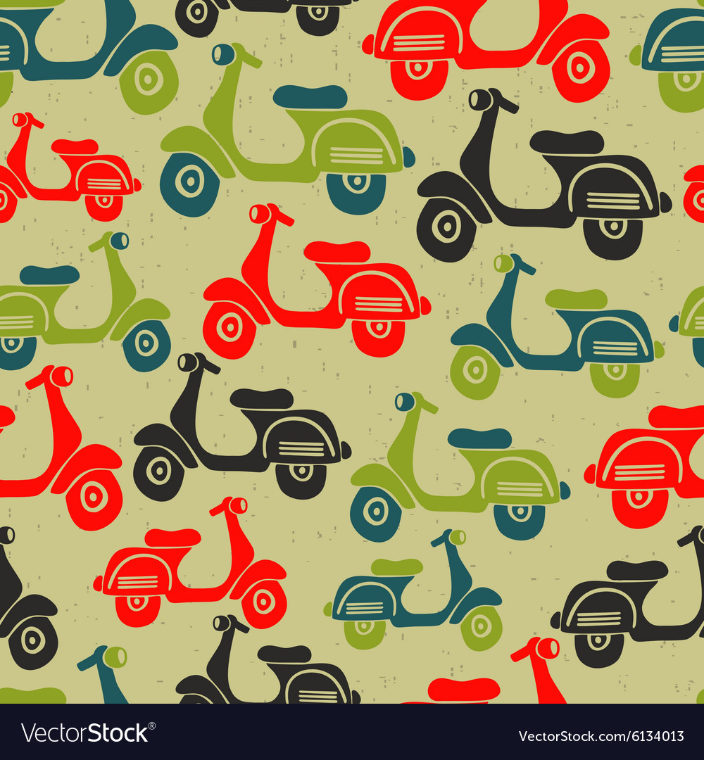 Seamless pattern with vintage scooters