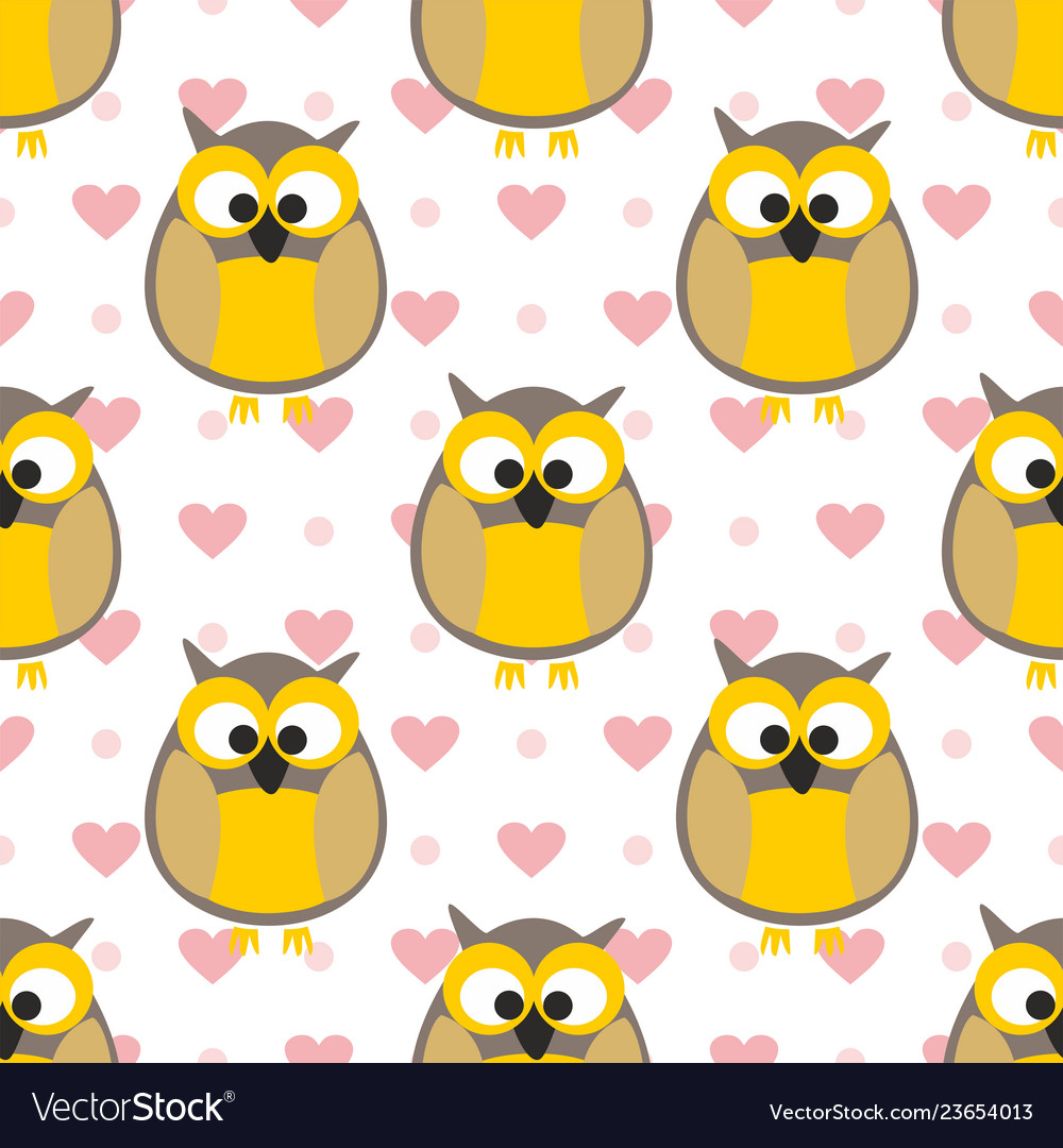 Tile pattern with owls with pink hearts and dots