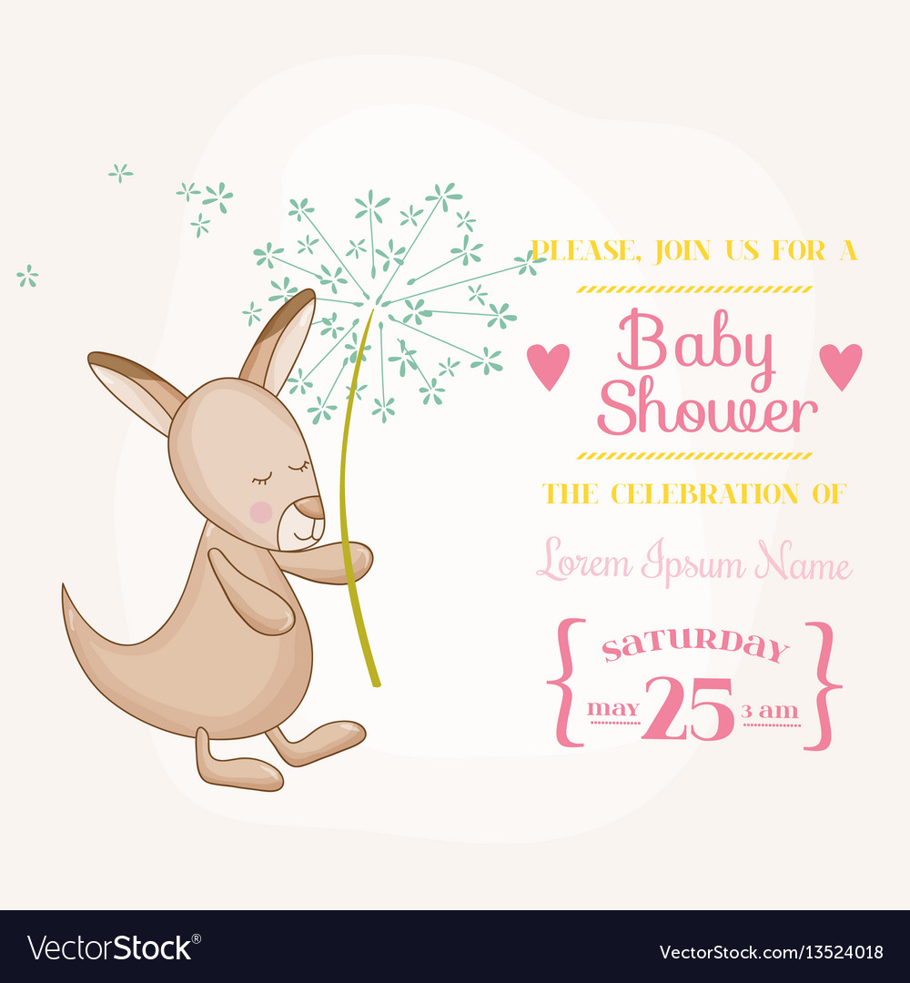 Baby girl kangaroo holding flower - baby shower