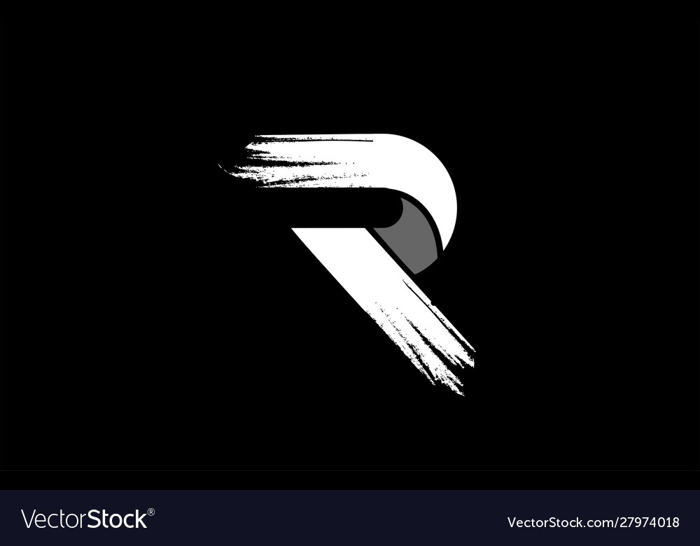 Black Background Black And White Letter R Grunge Vector Image