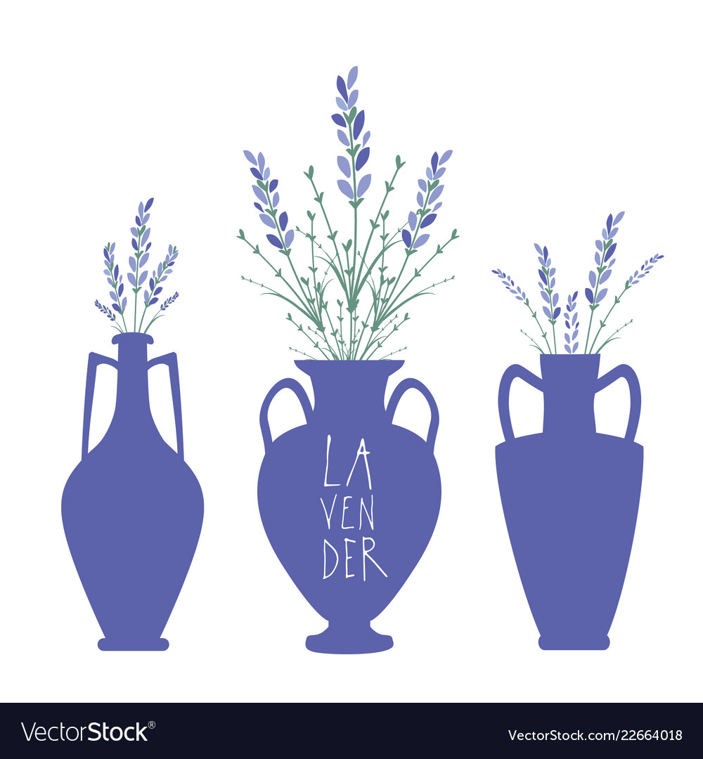 Bouquets of lavender in three types of ancient