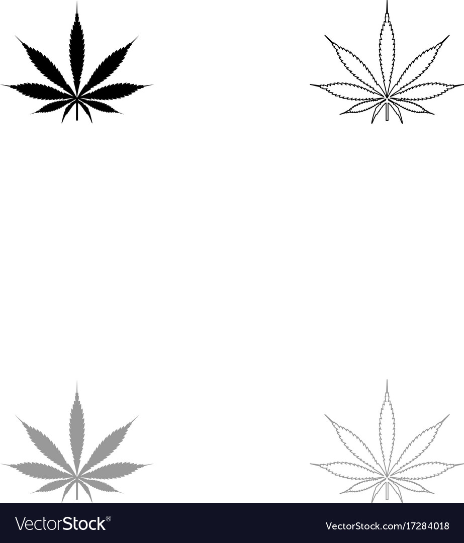 Cannabis marijuana leaf black and grey set icon