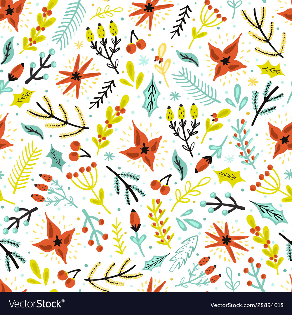 Christmas flowers and plants seamless pattern