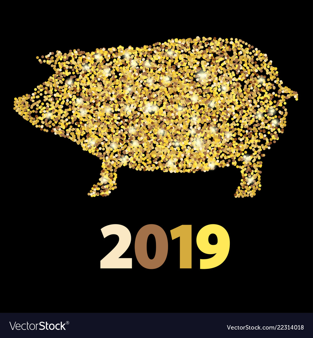 Christmas greeting card with golden pig and date