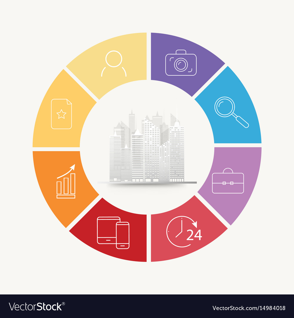 Circle house concepts with icons vector image
