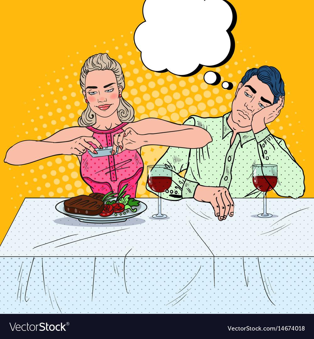couple having dinner in restaurant pop art vector image