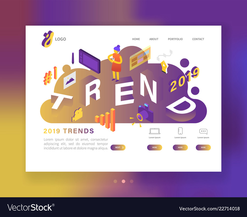 Creative trends 2019 year landing page template