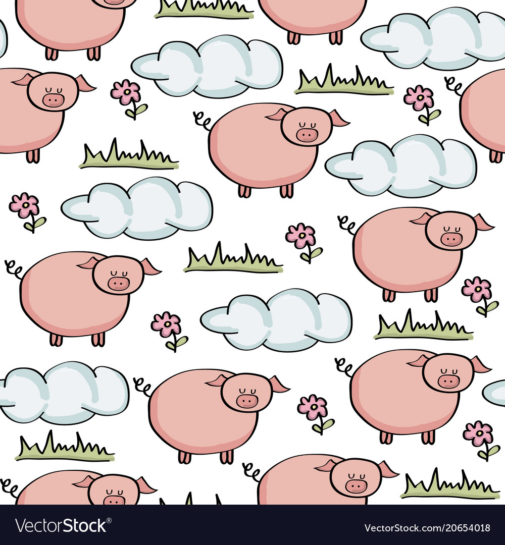 Doodle seamless pattern with pigs