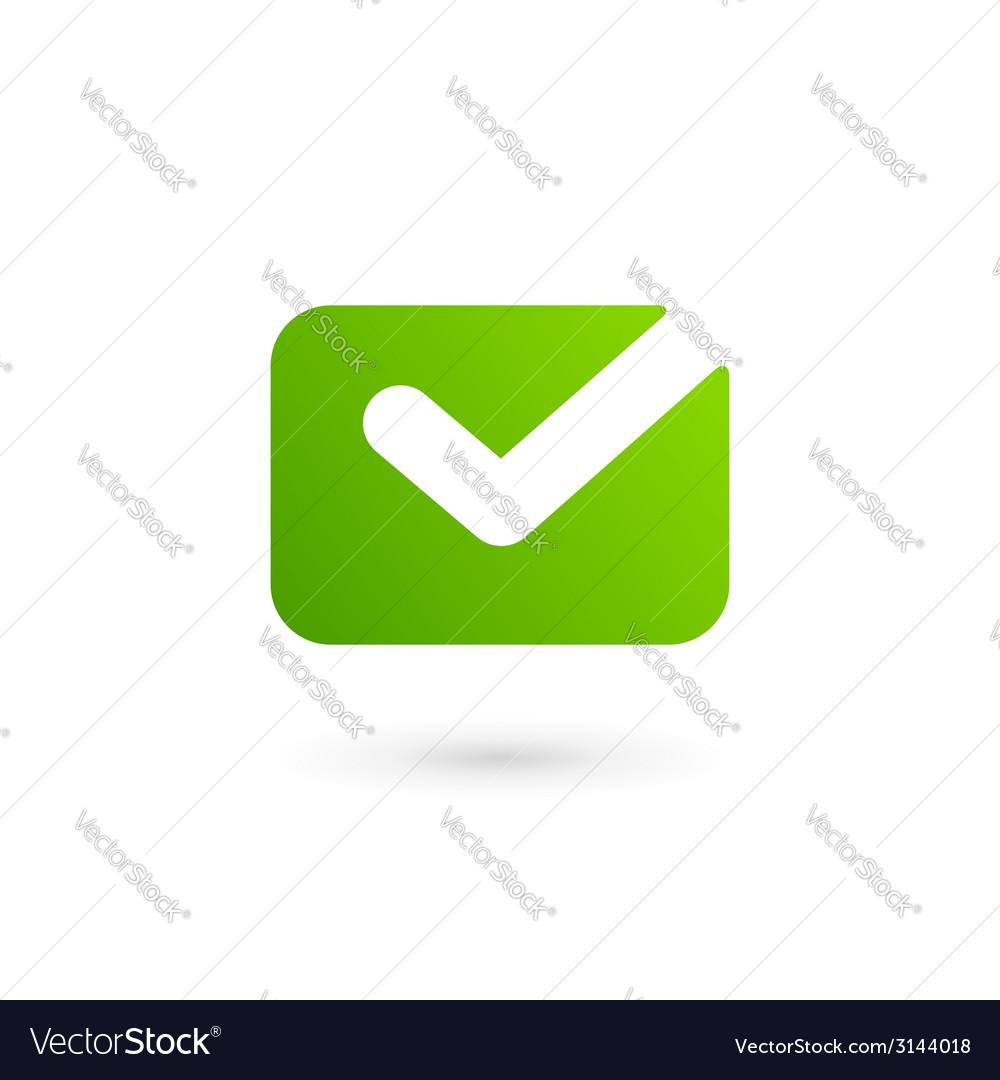 Email Envelope Tick Logo Icon Design Template Vector Image - Mail envelope template