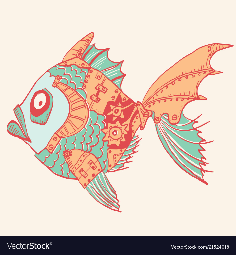 Fish with mechanical parts of body hand drawn