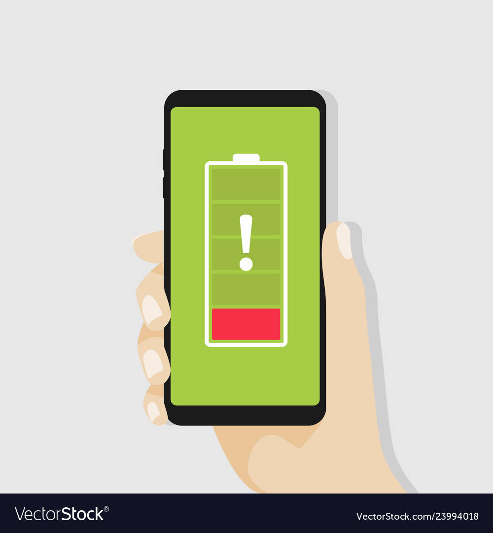 Hand holding smartphone with red low battery