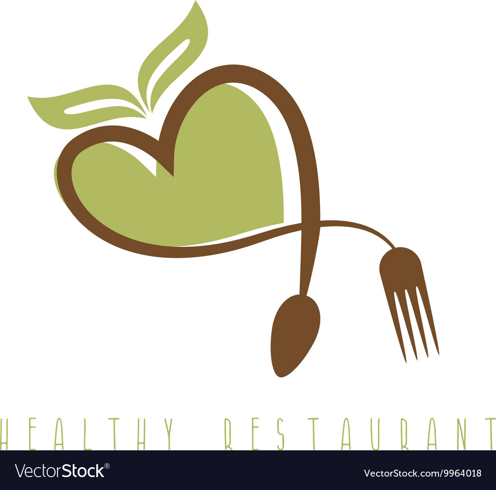Healthy restaurant concept with heart spoon and