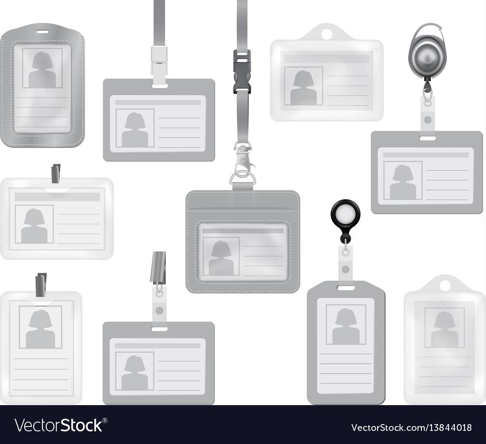 Identification card mockup set realistic style vector image