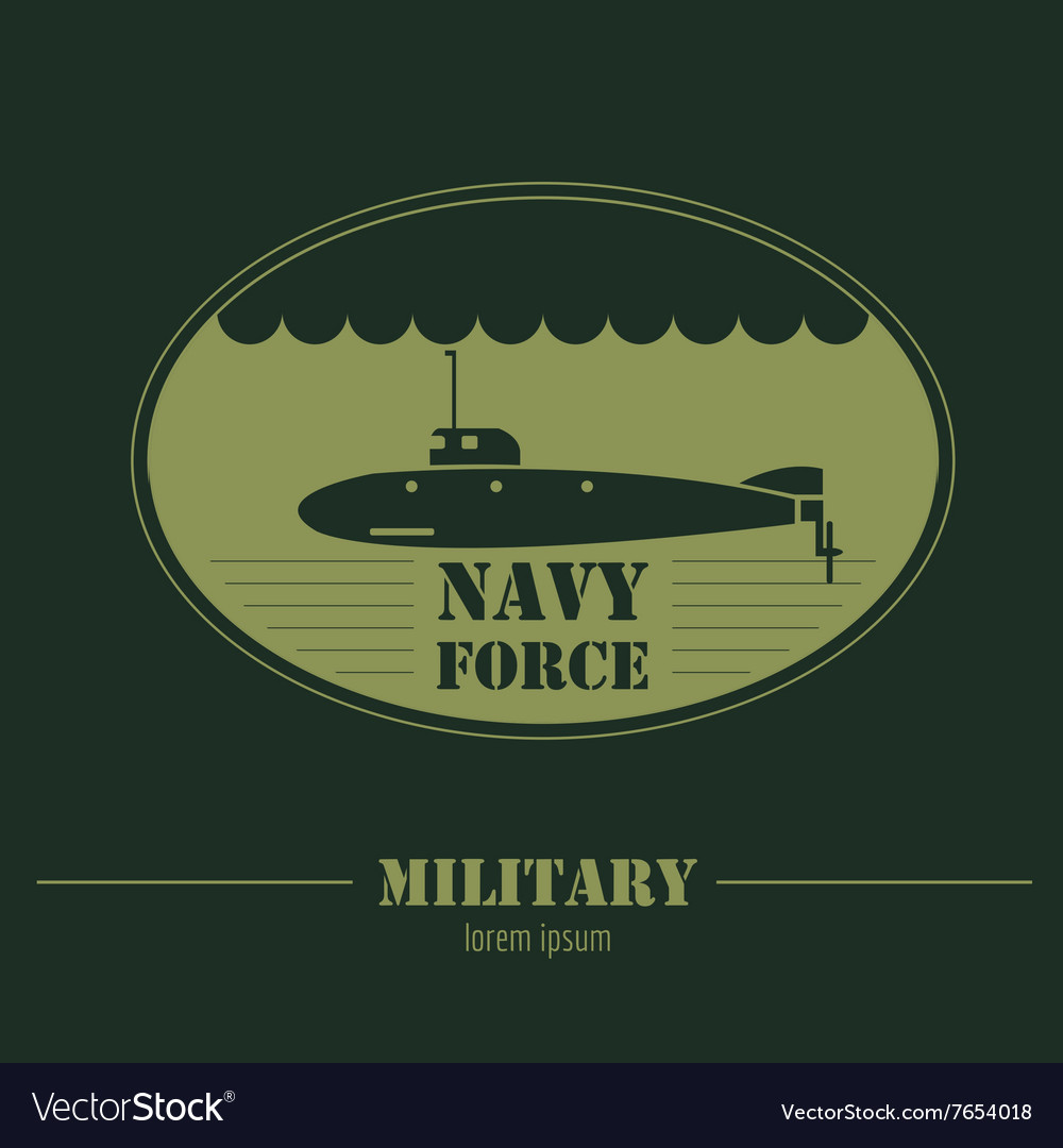 Military logo Navy force submarine Graphic vector image