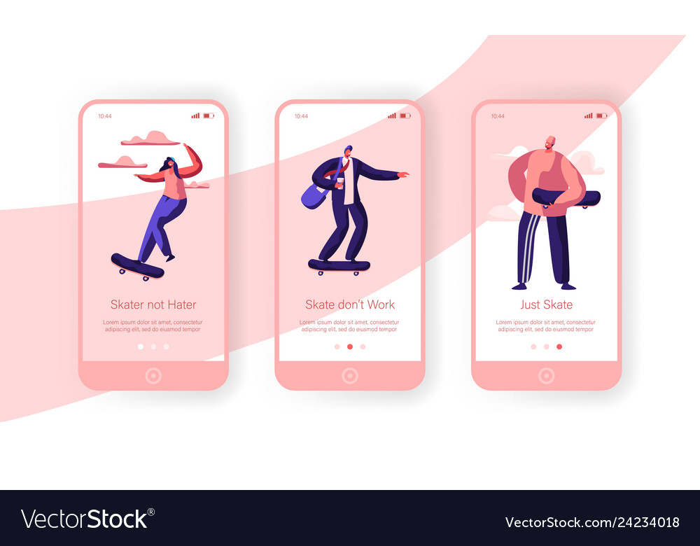 People character skate skateboard mobile app page