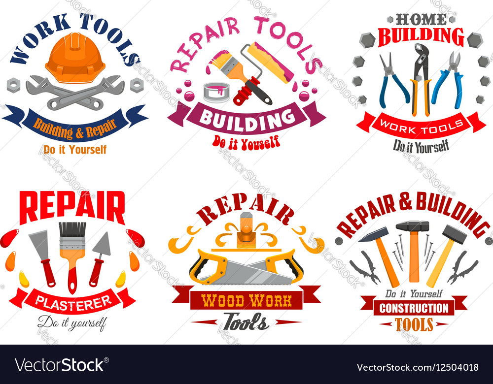 Repair tool and building instrument badge set vector image