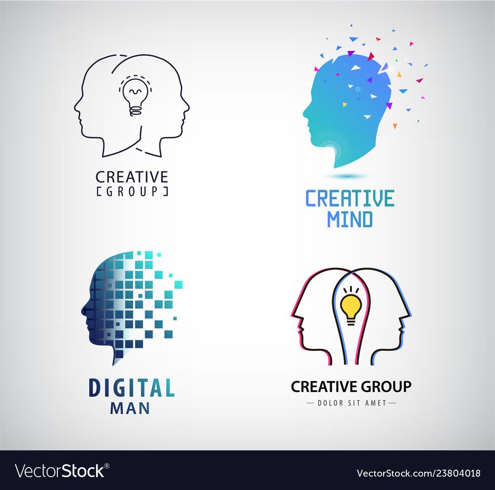 Set creative group teamwork brainstorm