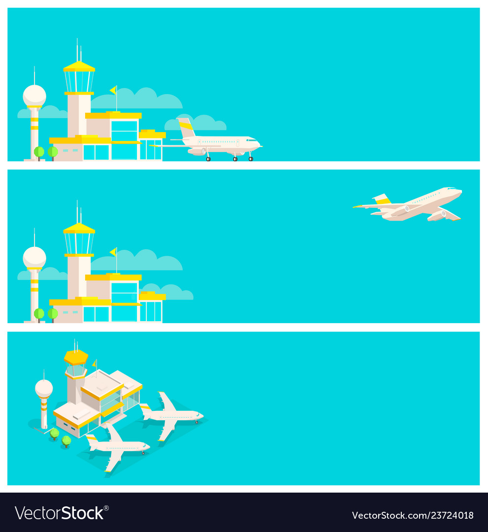 Set of banners airport terminal and airplane