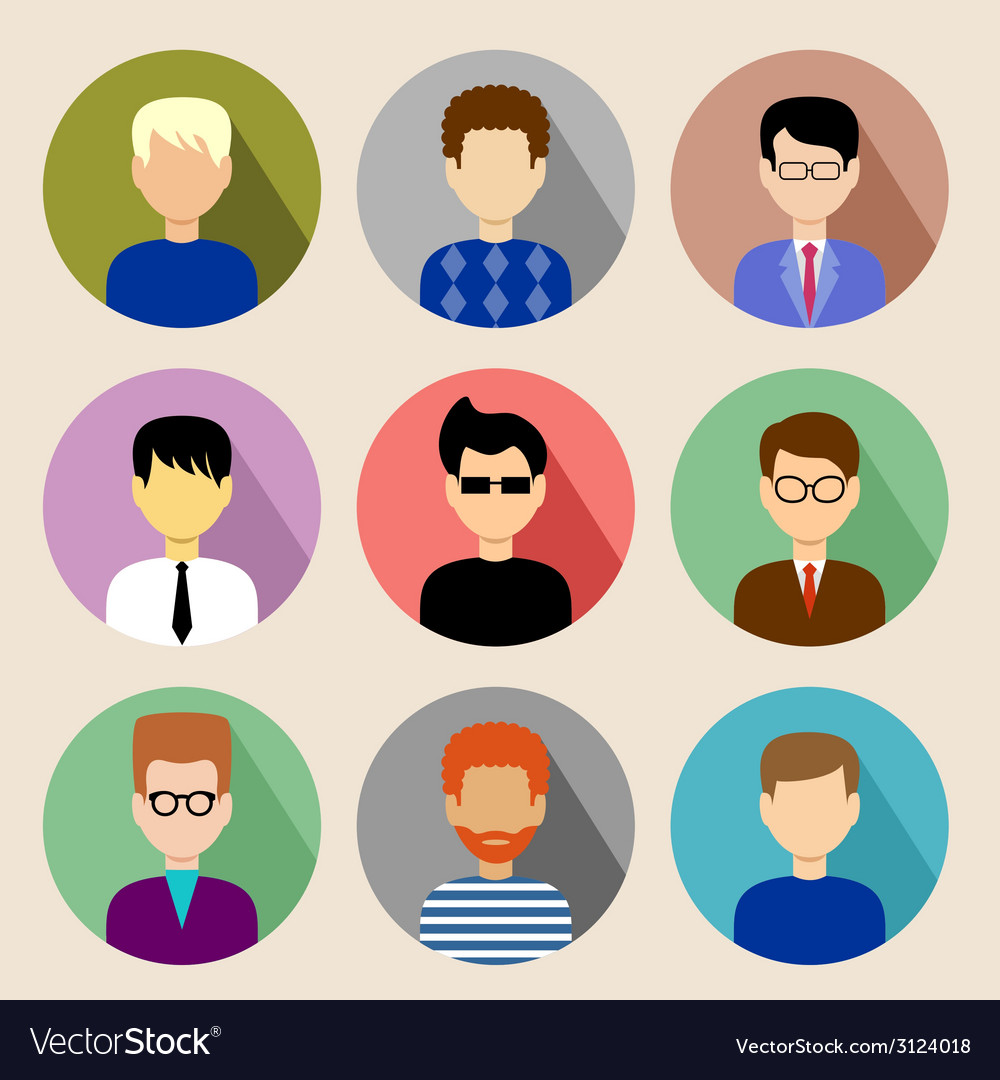 Set of round flat icons with men