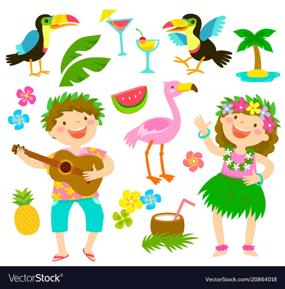Tropical cartoon set