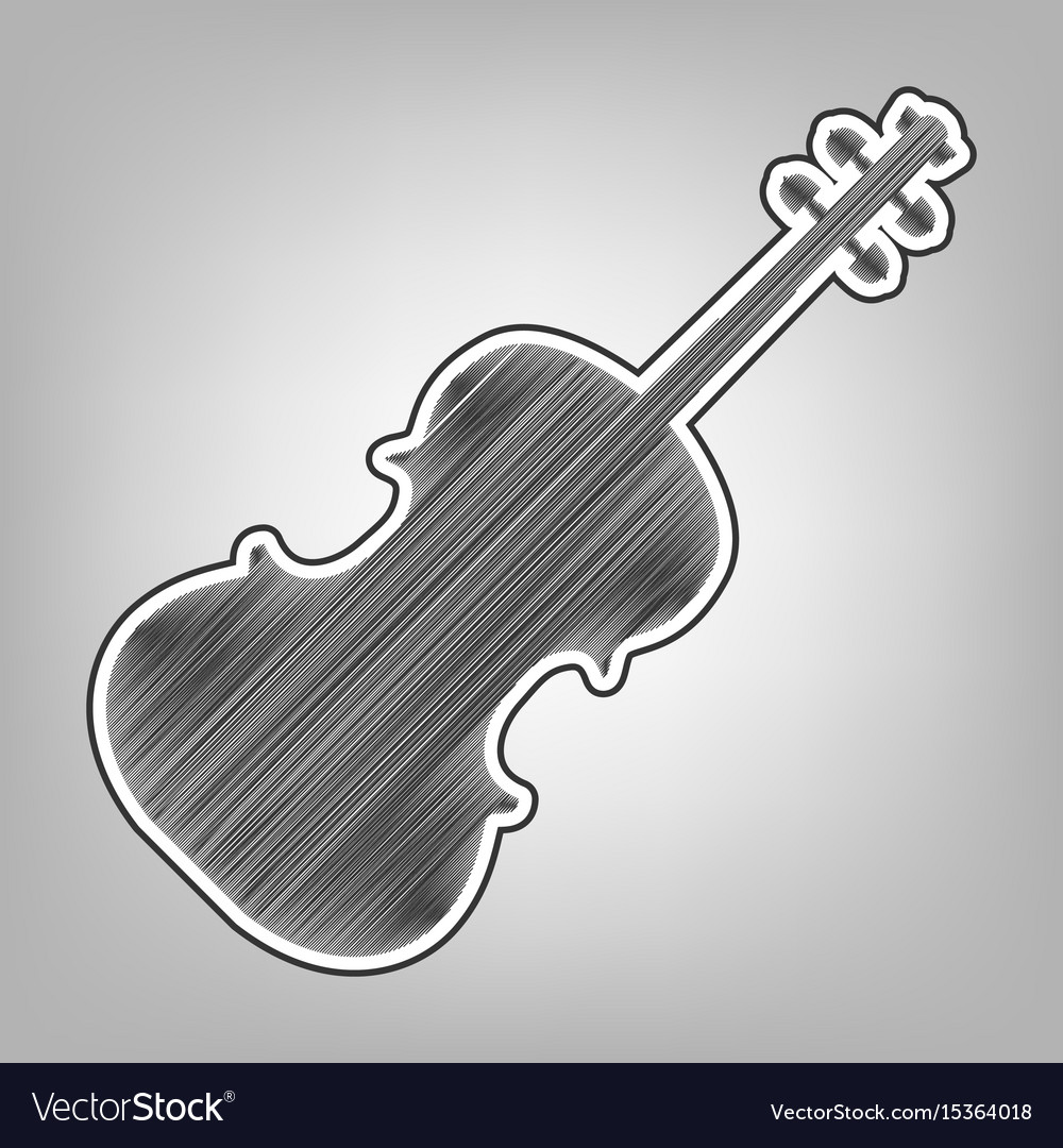 Violin sign pencil sketch vector image